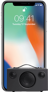 iPhone X 256GB med Audio Pro T3