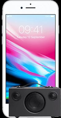 iPhone 8 64GB med Audio Pro T3